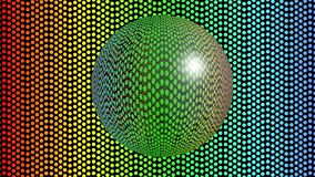 Bola de vidro que move-se no fundo pontilhado arco-íris, 3d animação, esfera transparente que espelha o ambiente ilustração do vetor