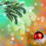 Bola del Año Nuevo s en un fondo abstracto Foto de archivo libre de regalías