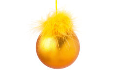 Bola del amarillo de la decoración de la Navidad Imagen de archivo libre de regalías