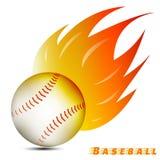 Bola del béisbol con tono rojo del fuego del amarillo anaranjado en el fondo blanco logotipo del club del equipo de béisbol Vecto libre illustration