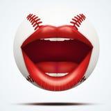 Bola del béisbol con una boca femenina que habla Imagen de archivo