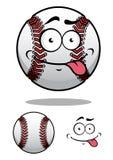 Bola del béisbol de la historieta con una mueca fresca Imágenes de archivo libres de regalías