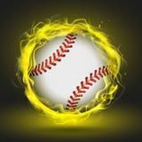 Bola del béisbol del vector en llama amarilla Foto de archivo