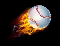 Bola del béisbol en el fuego Fotografía de archivo libre de regalías