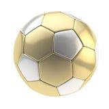 Bola del balompié del oro y de la plata aislada Foto de archivo