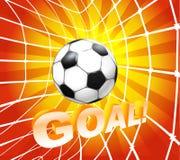 Bola del balompié (fútbol) en una red Imagen de archivo libre de regalías