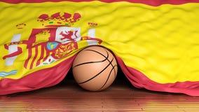 Bola del baloncesto con la bandera de España ilustración del vector