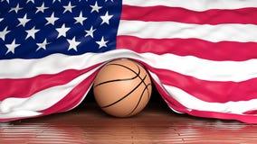 Bola del baloncesto con la bandera de los E.E.U.U. stock de ilustración