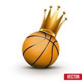 Bola del baloncesto con la corona real de la princesa Foto de archivo libre de regalías