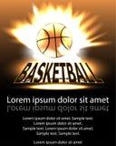 Bola del baloncesto del cartel en llamas y luces contra backgr negro Fotografía de archivo libre de regalías