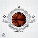 Bola del baloncesto en el centro de la guirnalda de plata en fondo ligero Ejemplo del icono al aire libre del diseño de los depor stock de ilustración