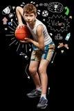 Bola del baloncesto en manos Foto de archivo libre de regalías
