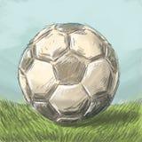 Bola del bosquejo en el campo de fútbol Imágenes de archivo libres de regalías