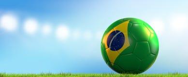 Bola del Brasil representación brasileña de la bola 3d del fútbol del fútbol Foto de archivo