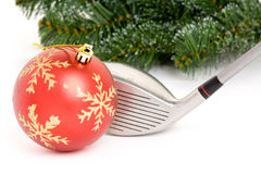 Bola del club de golf y de la Navidad Fotografía de archivo