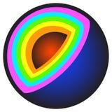 Bola del corte del extracto con capas multicoloras Fotos de archivo