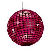 Bola del espejo del corazón - base blanca Imagen de archivo libre de regalías