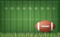 Bola del fútbol americano con el fondo verde del modelo del campo Vector stock de ilustración