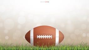 Bola del fútbol americano o bola del rugby en corte de hierba verde ilustración del vector
