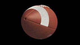 Bola del fútbol americano que vuela y que hace girar, lazo alfa 4k ilustración del vector