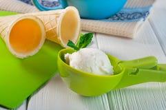 Bola del helado de vainilla en una cucharada plástica con la menta y la galleta c fotografía de archivo libre de regalías