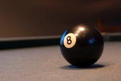 Bola 8 del juego de mesa de billar del billar Fotografía de archivo