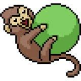 Bola del juego del mono del arte del pixel del vector ilustración del vector
