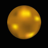 Bola del oro en negro Fotos de archivo libres de regalías