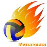 Bola del voleibol con el tono rojo del amarillo anaranjado del fuego en el fondo blanco club del logotipo del voleibol Vector Ilu Fotos de archivo libres de regalías