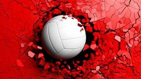 Bola del voleibol que se rompe fuertemente a través de una pared roja ilustración 3D Imágenes de archivo libres de regalías