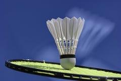 A bola do badminton bate a raquete Imagem de Stock