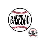 Bola do basebol com inscrição tirada mão na ilustração branca do vetor do fundo ilustração stock