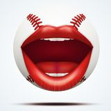 Bola do basebol com uma boca fêmea de fala Imagem de Stock