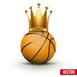 Bola do basquetebol com a coroa real da rainha Fotografia de Stock
