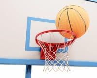 Bola do basquetebol no anel Imagem de Stock Royalty Free