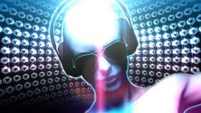 Bola do disco da menina do DJ do diamante ilustração do vetor