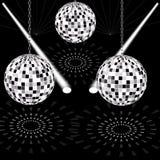 Bola do disco no salão de baile com luzes e lasers ilustração do vetor