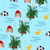 A bola do esporte dos povos da ilustração do fundo stars flores imagens de stock