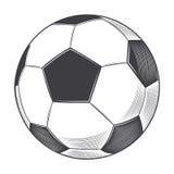 Bola do futebol isolada no fundo branco Linha arte Fotos de Stock Royalty Free