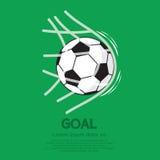 Bola do futebol ou de futebol na rede Fotografia de Stock Royalty Free