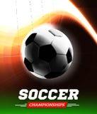 Bola do futebol ou do futebol no luminoso com um trajeto de voo sob a forma de um feixe luminoso Ilustração do vetor Fotografia de Stock Royalty Free