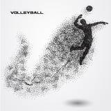 Bola do jogador de voleibol de uma silhueta da partícula Imagens de Stock Royalty Free