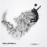 Bola do jogador de voleibol de uma silhueta da partícula Foto de Stock Royalty Free