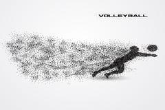 Bola do jogador de voleibol de uma silhueta da partícula Foto de Stock