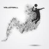 Bola do jogador de voleibol de uma silhueta da partícula Fotografia de Stock