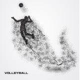 Bola do jogador de voleibol de uma silhueta da partícula Fotos de Stock Royalty Free