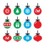 Bola do Natal, ícones da quinquilharia do Natal ajustados Imagens de Stock Royalty Free