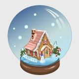 Bola do Natal com casa e decoração dentro dela Fotografia de Stock Royalty Free