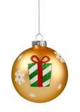 Bola do Natal do brilho do ouro fotografia de stock royalty free