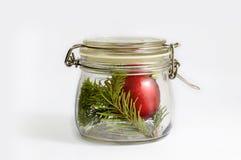 Bola do Natal e ramo vermelhos do abeto vermelho em um frasco de vidro Isolado no branco fotos de stock royalty free